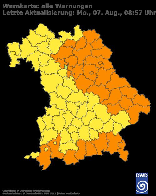 Aktuelle Wetterwarnungen für Ansbach