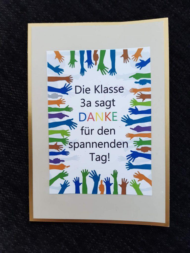 Plakat der Klasse 3a mit Dankesgruß