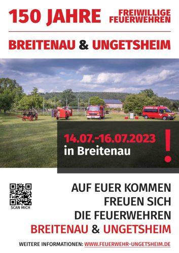 Flyer Einladung 150 Jahre FFW Breitenau Ungetsheim